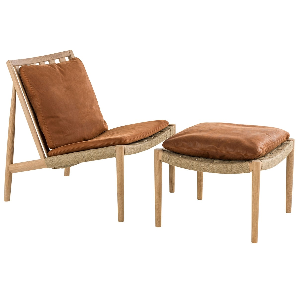 Easy Chair Fotpall Ek vitolja Skinn Dunes rust